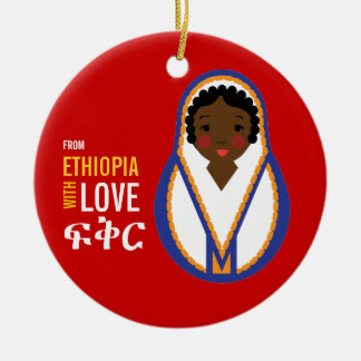 From Ethiopia With Love Adoption Keepsake Double-Sided Ceramic Round Christmas Ornament