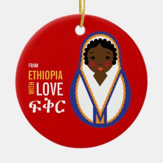 From Ethiopia With Love Adoption Keepsake Round Ceramic Ornament
