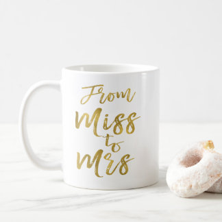 From Miss to Mrs Bridal Shower Party Gold Foil Coffee Mug