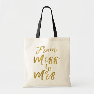 From Miss to Mrs Bridal Shower Party Gold Foil Tote Bag