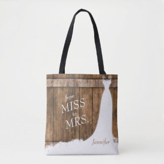 From Miss to Mrs. In Rustic Wood Style Tote Bag