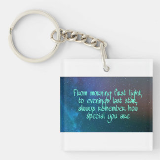 From morning first light, inspirational quote keychain