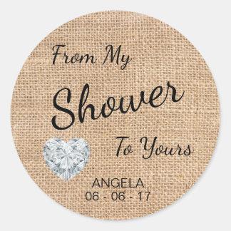 'From My Shower To Yours' Burlap, Sugar Scrub Round Sticker