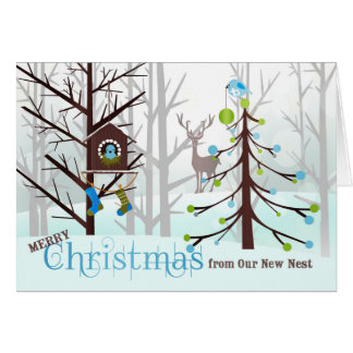 from Our New Address | Christmas Blue Birds Card