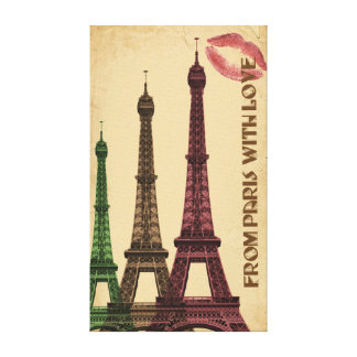 From Paris with Love Eiffel Tower Kiss Canvas Print