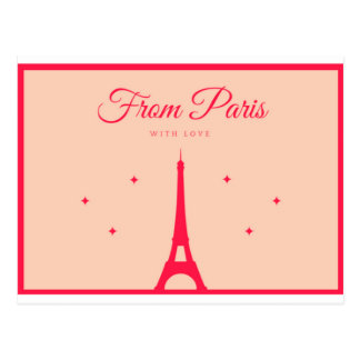 From Paris with Love - Red lettering Postcard
