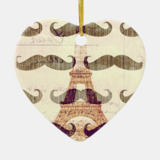 From Paris with mustache Ceramic Ornament