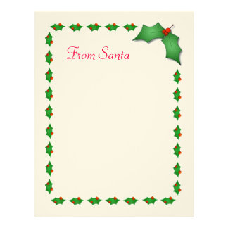 """""""From Santa"""" Stationery Letterhead Template"""