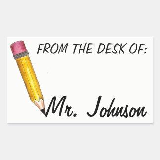 From the Desk of Personalized School Teacher Sticker