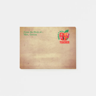 From the Desk of Teacher | Red Apple Vintage Look Post-it Notes