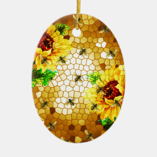 FROM THE FLOWER TO THE HIVE CERAMIC OVAL ORNAMENT