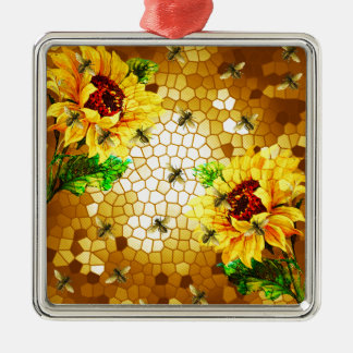 FROM THE FLOWER TO THE HIVE Silver-Colored SQUARE ORNAMENT