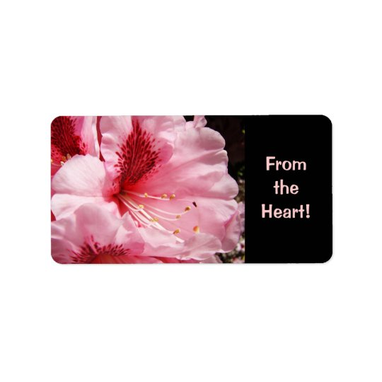 From the Heart! label stickers Pink Rhodies Flower