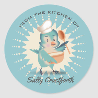 From the kitchen of cute bird chef mixing bowl classic round sticker