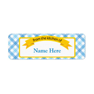 From the Kitchen of Food Label - Blue Return Address Label