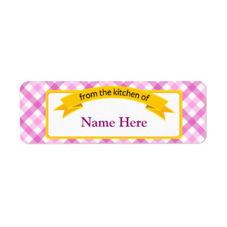 From the Kitchen of Food Label - Pink Return Address Label