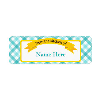 From the Kitchen of Food Label - Teal Return Address Label