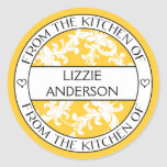 From the Kitchen of Label | Yellow White Damask Round Sticker