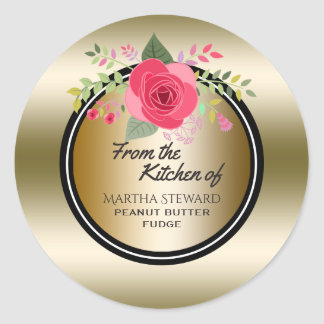 From the Kitchen of Name Elegant Gold Pink Floral Classic Round Sticker