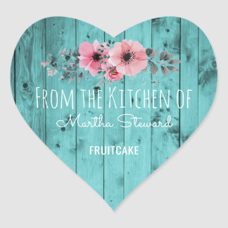 From the Kitchen Of Name Teal Rustic Country Wood Heart Sticker
