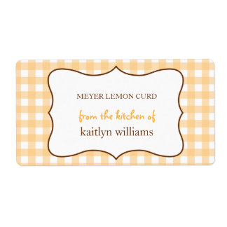 From the kitchen of orange gingham custom label shipping label