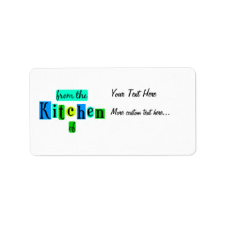 From the Kitchen of Retro Blue Green Recipe Tag