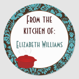 From The Kitchen of Teal Brown Damask Classic Round Sticker