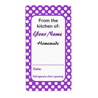 From the Kitchen Personalized Purple Polka Dots Shipping Label