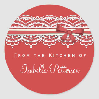 From the Kitchen Vintage Lace Red Sticker