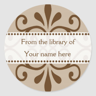 From The Library Of Bookplates Classic Round Sticker