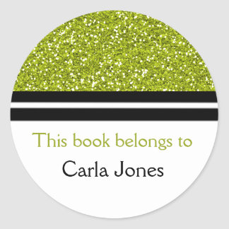 From The Library Of  Bookplates | Green Glitter Round Sticker