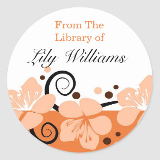 From The Library Of Bookplates - Orange Classic Round Sticker