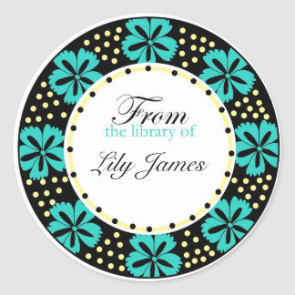 From The Library Of Bookplates -Teal  Flowers Stickers
