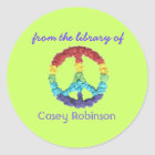 """From the library of"" peace sign bookplate Classic Round Sticker"