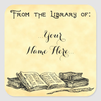 From the Library of Vintage Books Custom Bookplate Square Sticker