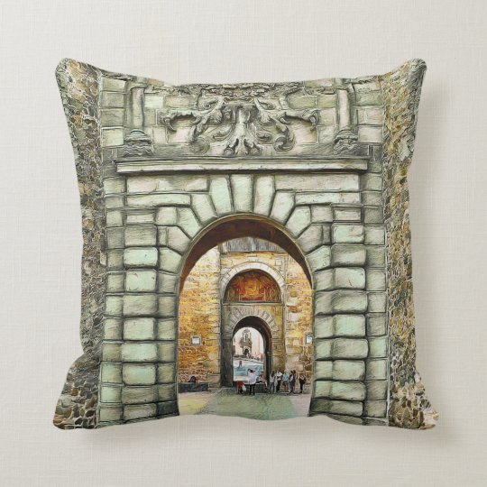 From the present to the past. throw pillow