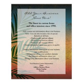 Frondes tropicales de paume de coucher du soleil prospectus 11,4 cm x 14,2 cm