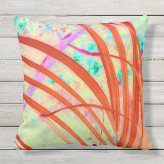 Fronds Go Red Throw Pillow