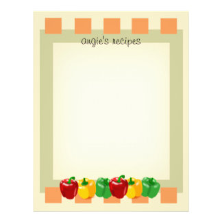Front and Back Veggies Kitchen Recipe Paper 8.5x11