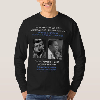 FRONT/BACK JFK/OBAMA/American Spirit reborn/speech T-Shirt
