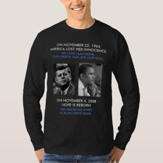 FRONT/BACK JFK/OBAMA/American Spirit reborn/speech T Shirt
