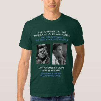 front/back JFK OBAMA, American Spirit speech quote T Shirts