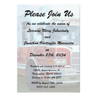 Front corner of county fire truck fireman design card