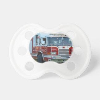 Front corner of county fire truck fireman design pacifiers