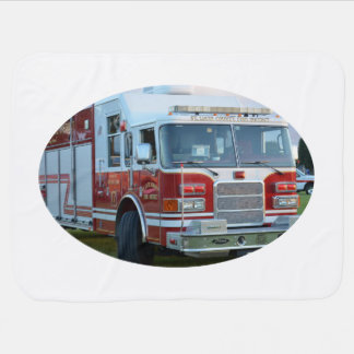 Front corner of county fire truck fireman design swaddle blankets