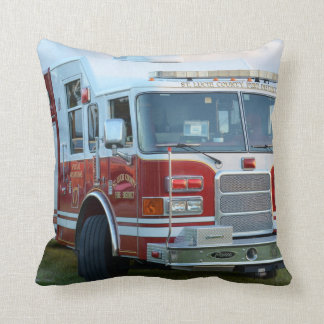 Front corner of county fire truck fireman design throw pillow