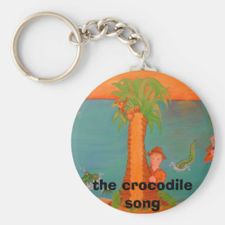 front cover of crocodile book, the crocodile song basic round button keychain