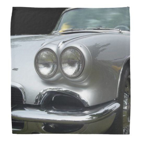 Front Drivers side of a classic silver corvette Bandana