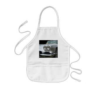 Front Drivers side of a classic silver corvette Kids Apron