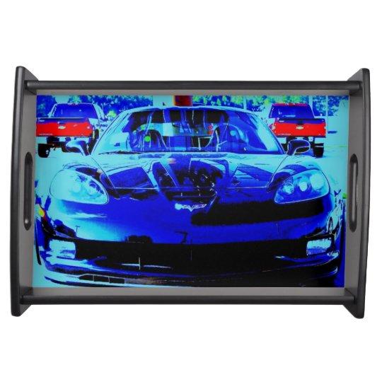 Front end and hood of a Black & Blue Corvette Z06 Serving Platter